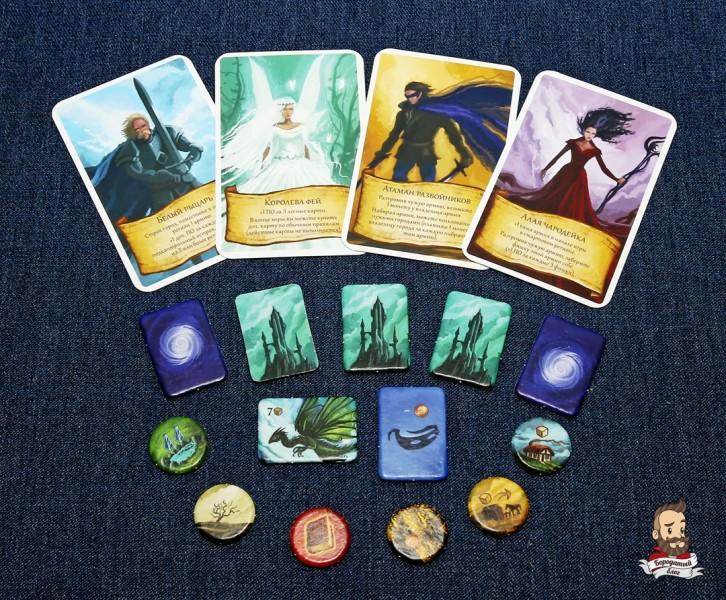 Карты лидеров и жетоны из игры Восьмиминутная империя: Легенды